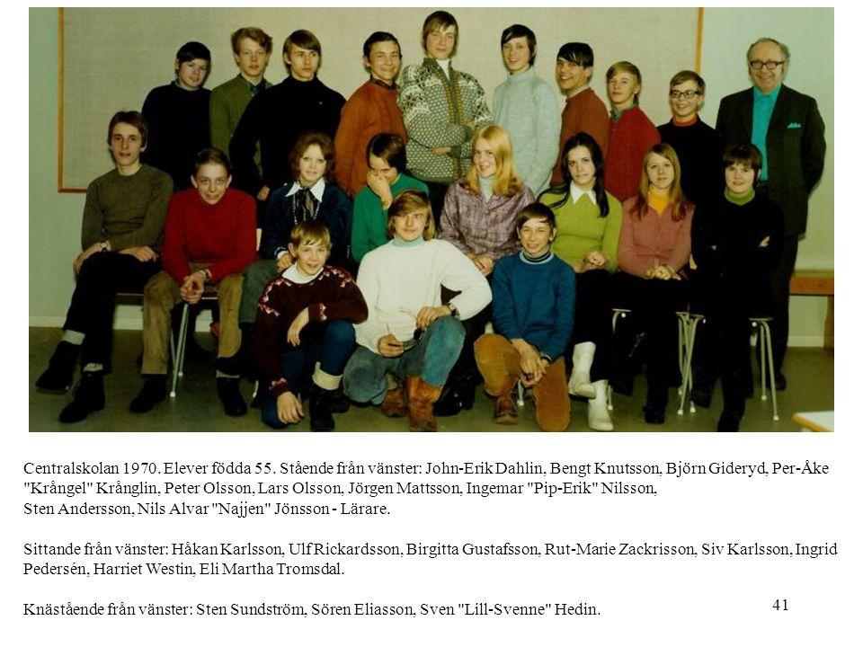 Centralskolan 1970. Elever födda 55