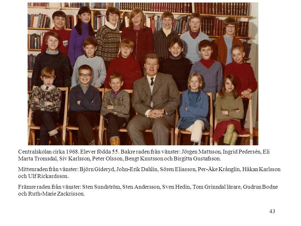 Centralskolan cirka 1968. Elever födda 55
