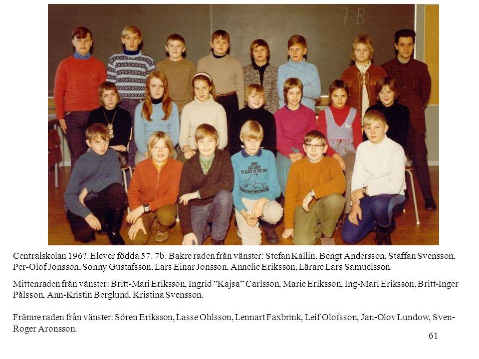 Centralskolan 196. Elever födda 57. 7b