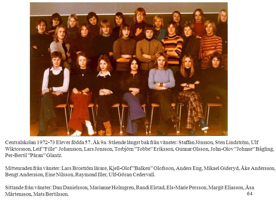 Centralskolan 1972-73 Elever födda 57. Åk 9a
