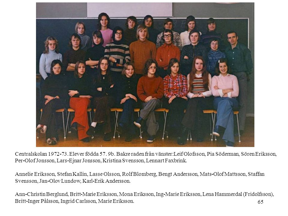 Centralskolan 1972-73. Elever födda 57. 9b