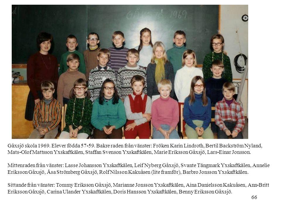 Gåxsjö skola 1969. Elever födda 57-59