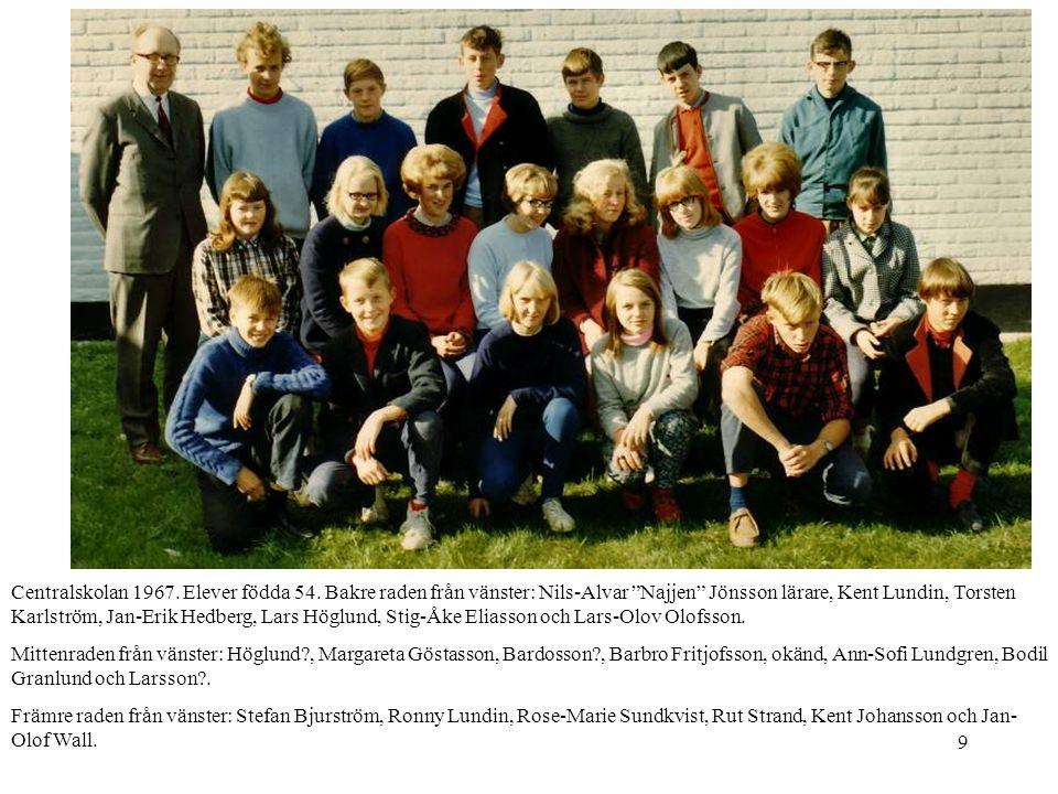Centralskolan 1967. Elever födda 54