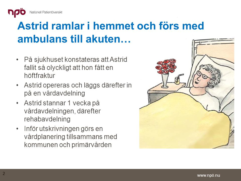 Astrid ramlar i hemmet och förs med ambulans till akuten…