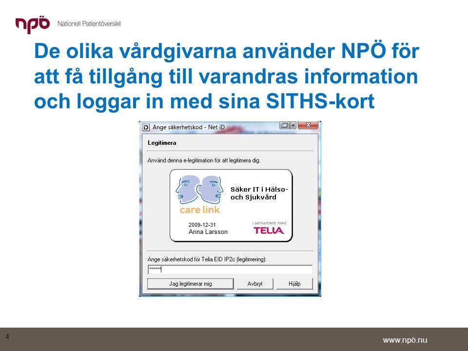 De olika vårdgivarna använder NPÖ för att få tillgång till varandras information och loggar in med sina SITHS-kort
