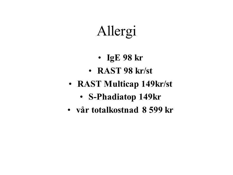 Allergi IgE 98 kr RAST 98 kr/st RAST Multicap 149kr/st