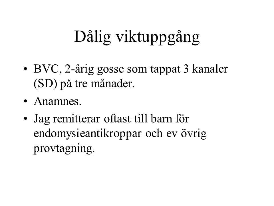 Dålig viktuppgång BVC, 2-årig gosse som tappat 3 kanaler (SD) på tre månader. Anamnes.
