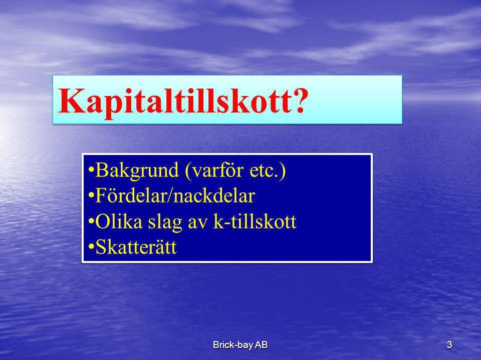 Kapitaltillskott Bakgrund (varför etc.) Fördelar/nackdelar