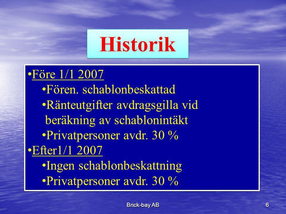Historik Före 1/1 2007 Fören. schablonbeskattad