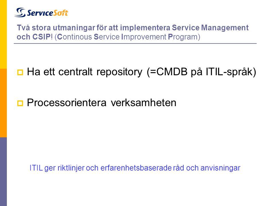 Ha ett centralt repository (=CMDB på ITIL-språk)