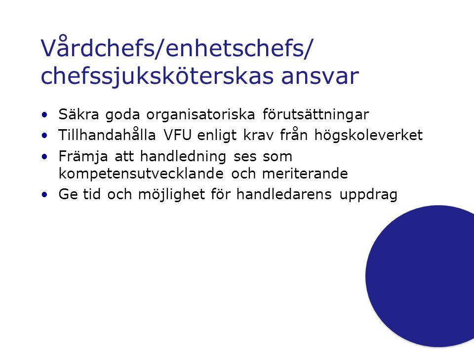 Vårdchefs/enhetschefs/ chefssjuksköterskas ansvar