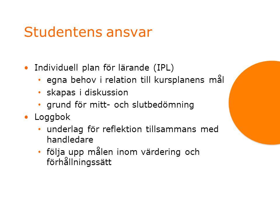 Studentens ansvar Individuell plan för lärande (IPL)
