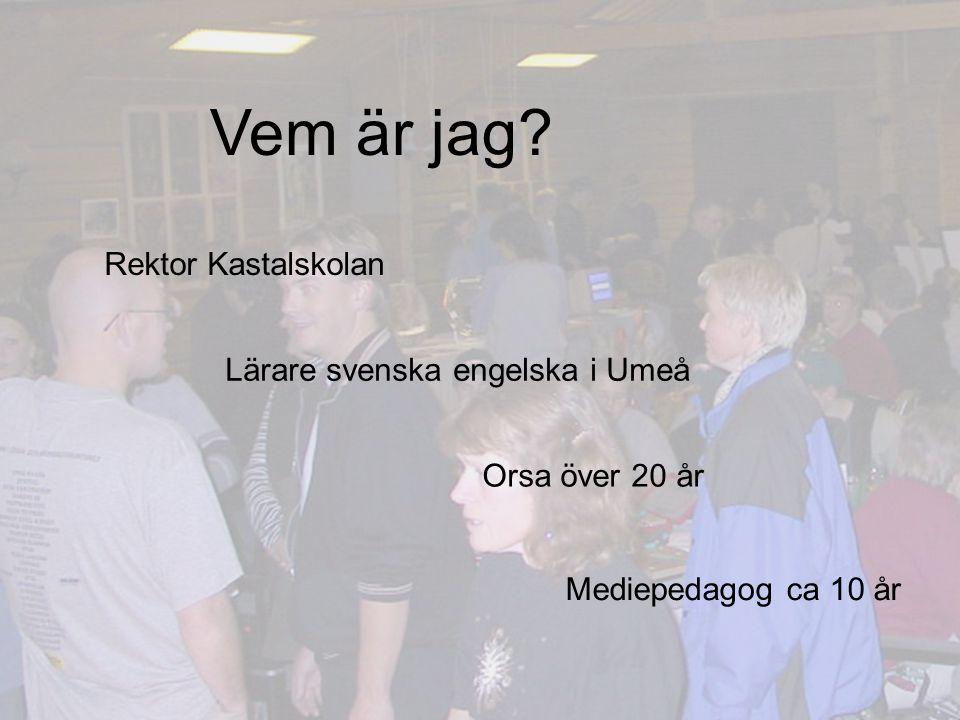 Vem är jag Rektor Kastalskolan Lärare svenska engelska i Umeå