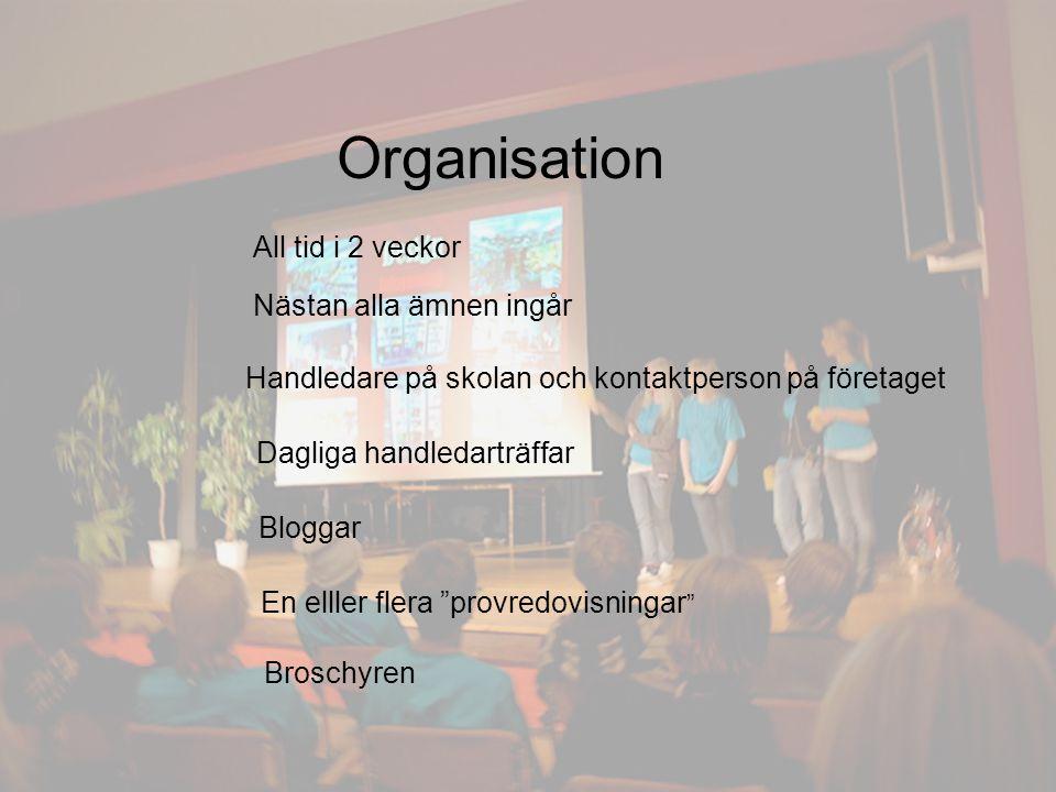 Organisation All tid i 2 veckor Nästan alla ämnen ingår