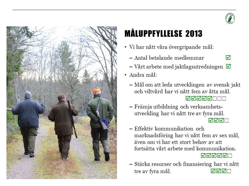 måluppfyllelse 2013 Vi har nått våra övergripande mål: