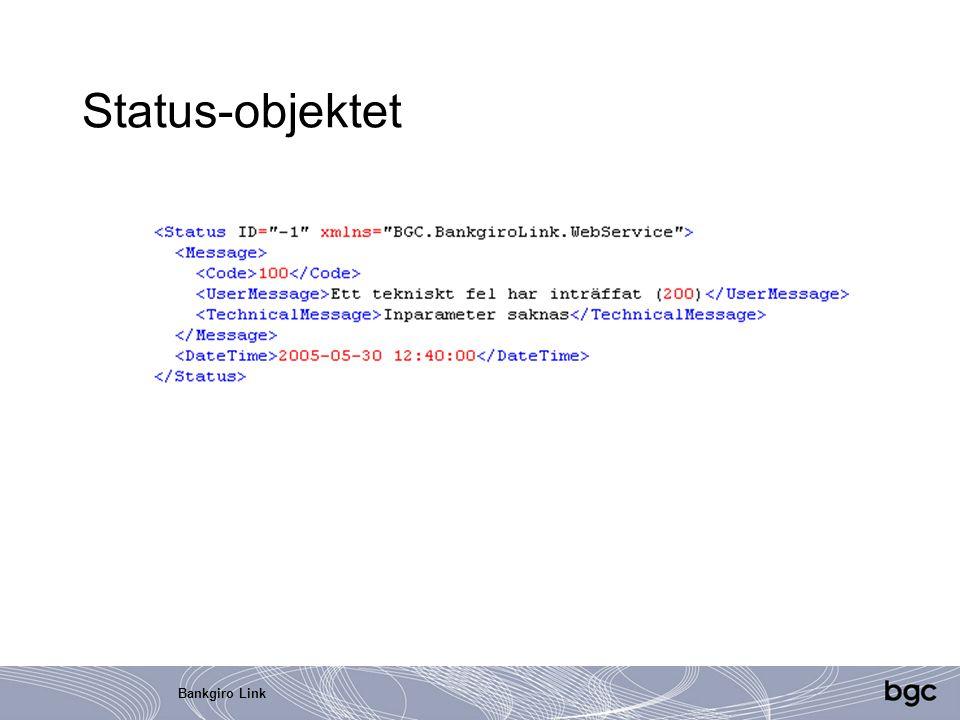 Status-objektet Bankgiro Link