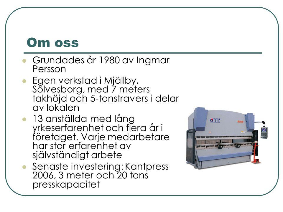 Om oss Grundades år 1980 av Ingmar Persson