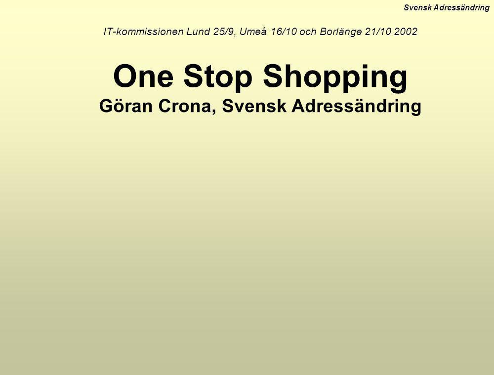 IT-kommissionen Lund 25/9, Umeå 16/10 och Borlänge 21/10 2002 One Stop Shopping Göran Crona, Svensk Adressändring