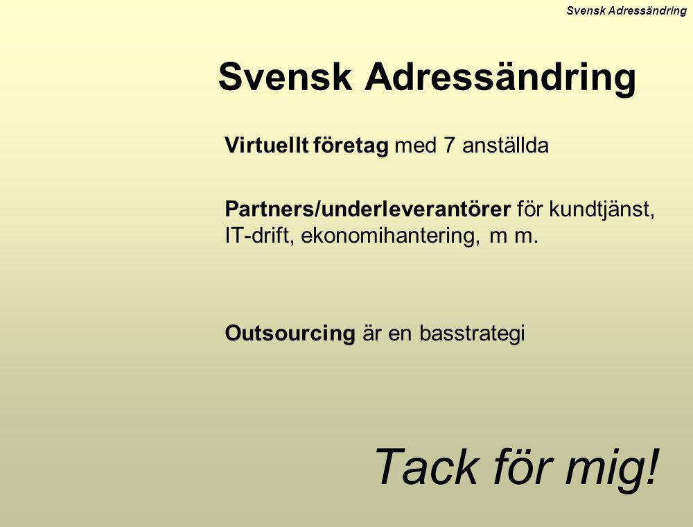 Tack för mig! Svensk Adressändring Virtuellt företag med 7 anställda