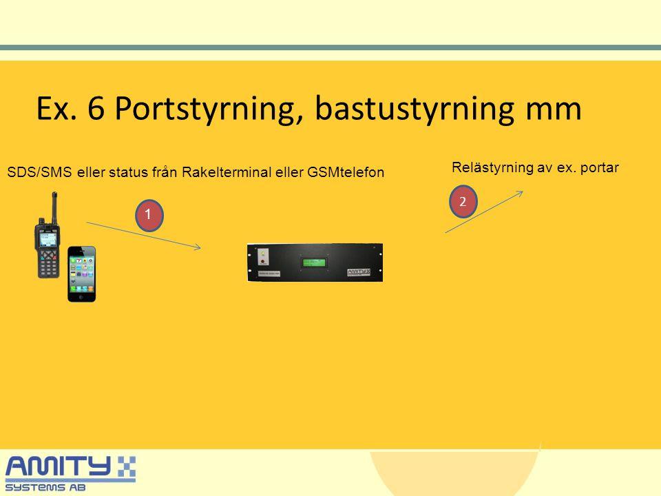 Ex. 6 Portstyrning, bastustyrning mm