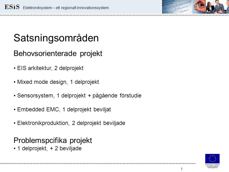 Satsningsområden Behovsorienterade projekt Problemspcifika projekt