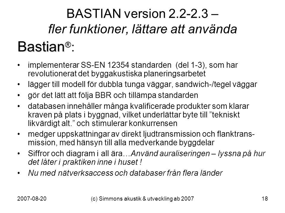 BASTIAN version 2.2-2.3 – fler funktioner, lättare att använda