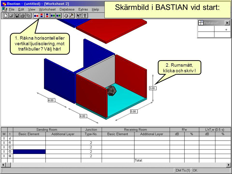 Skärmbild i BASTIAN vid start: