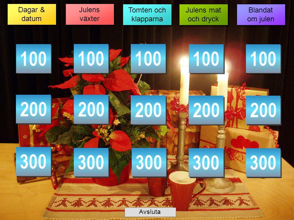 Dagar & datum Julens växter Tomten och klapparna Julens mat och dryck