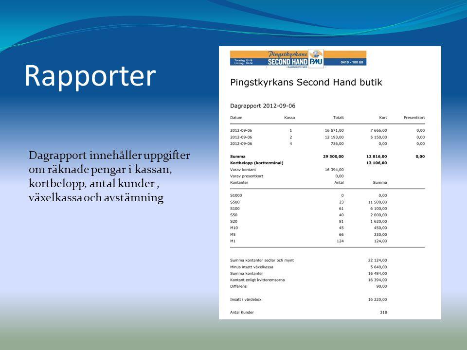 Rapporter Dagrapport innehåller uppgifter om räknade pengar i kassan, kortbelopp, antal kunder , växelkassa och avstämning.