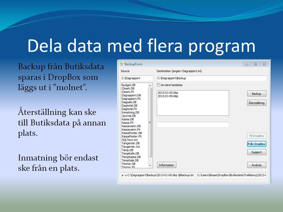 Dela data med flera program