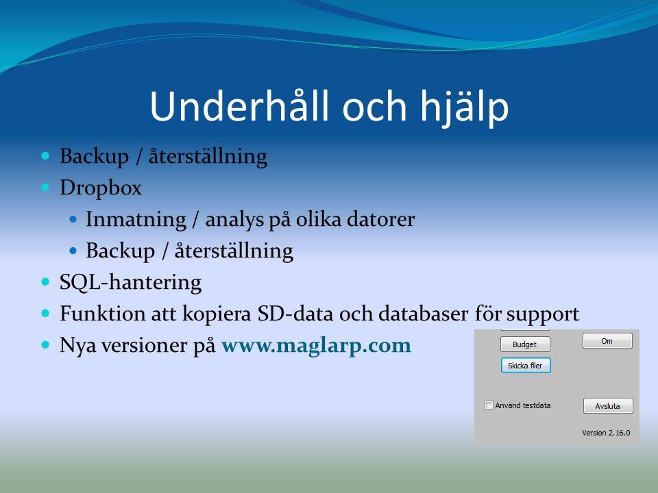 Underhåll och hjälp Backup / återställning Dropbox