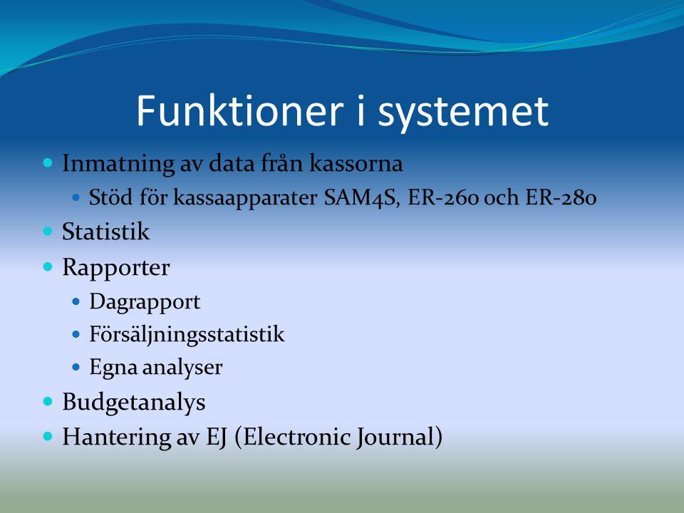 Funktioner i systemet Inmatning av data från kassorna Statistik