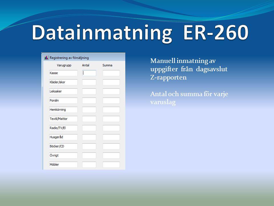 Datainmatning ER-260 Manuell inmatning av uppgifter från dagsavslut Z-rapporten.