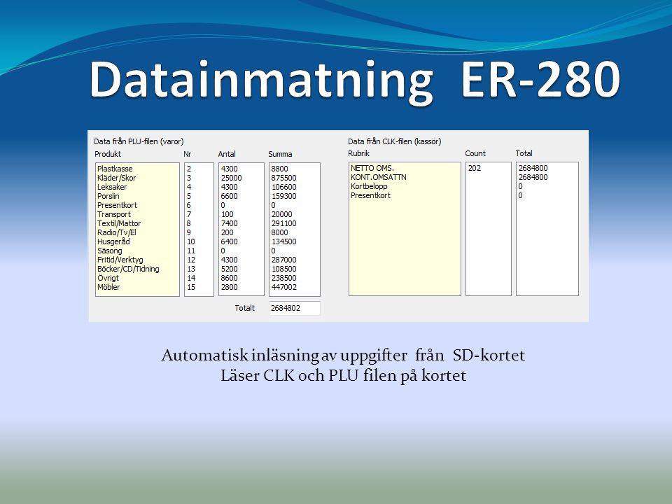Datainmatning ER-280 Automatisk inläsning av uppgifter från SD-kortet