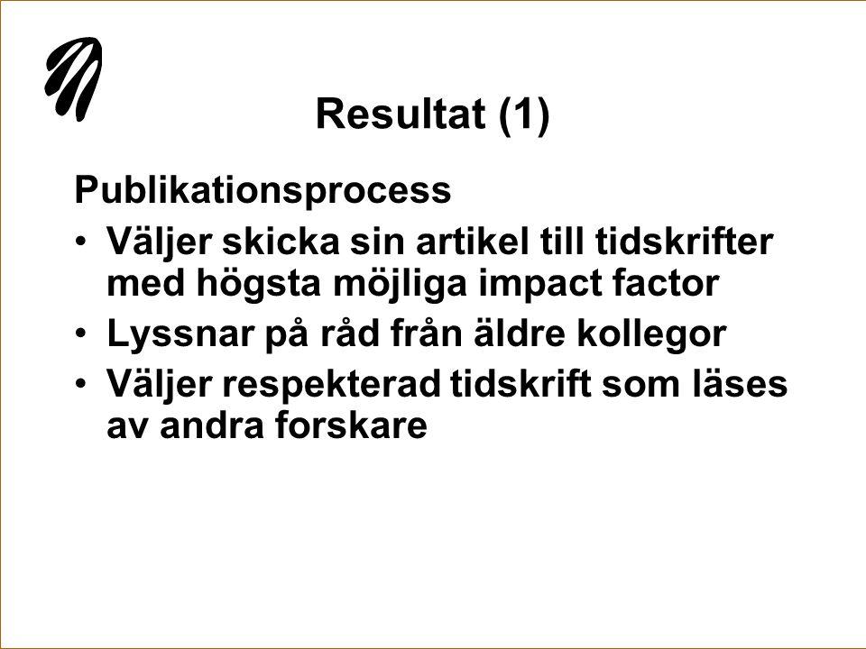 Resultat (1) Publikationsprocess