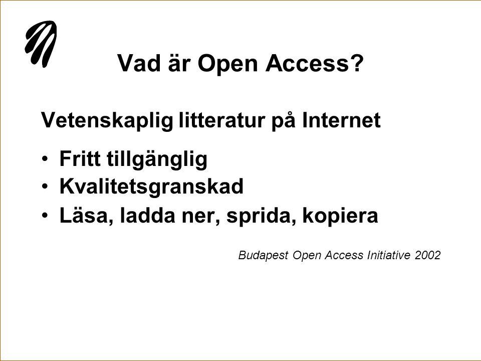 Vad är Open Access Vetenskaplig litteratur på Internet