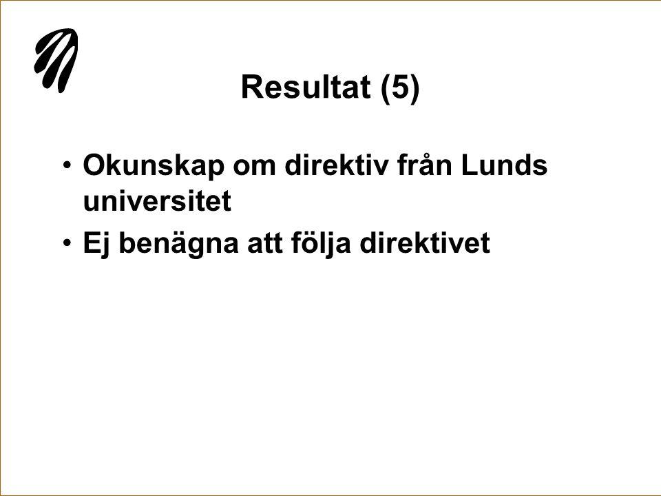 Resultat (5) Okunskap om direktiv från Lunds universitet