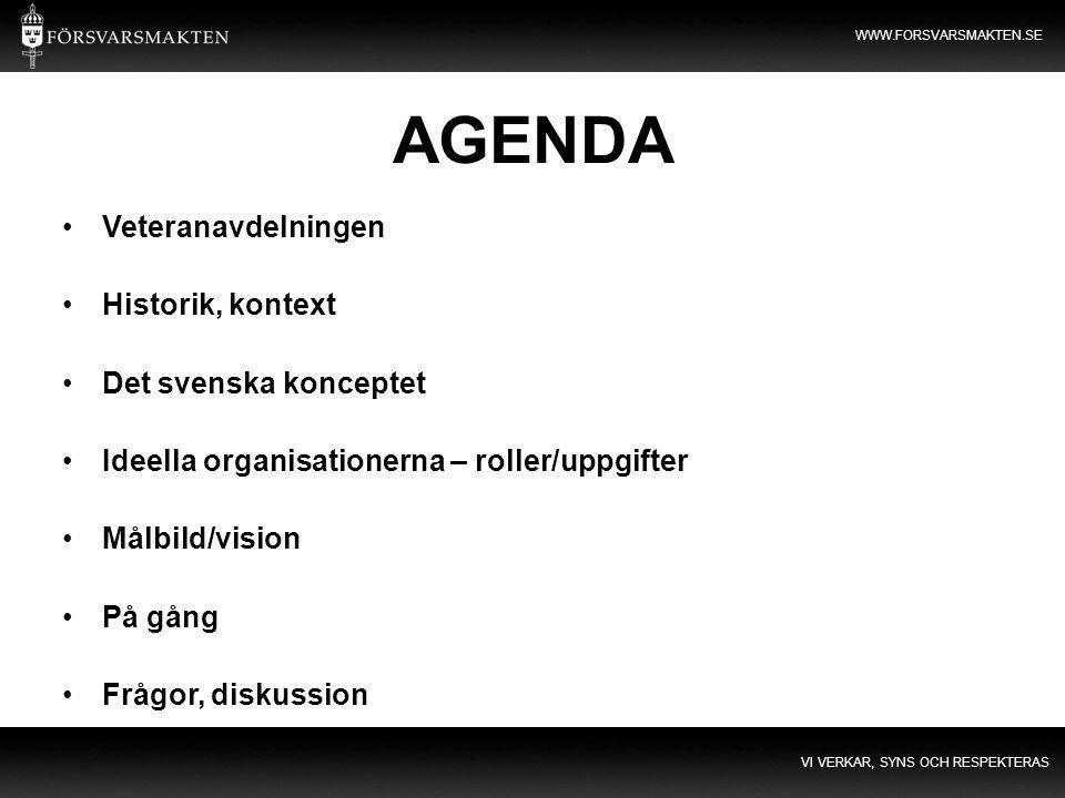 AGENDA Veteranavdelningen Historik, kontext Det svenska konceptet