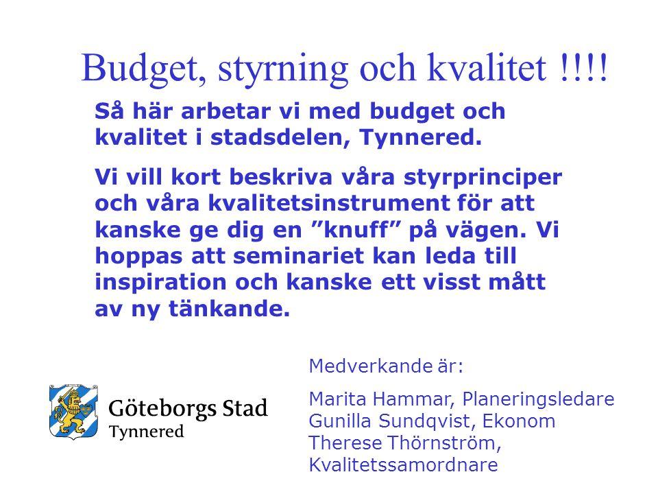 Budget, styrning och kvalitet !!!!