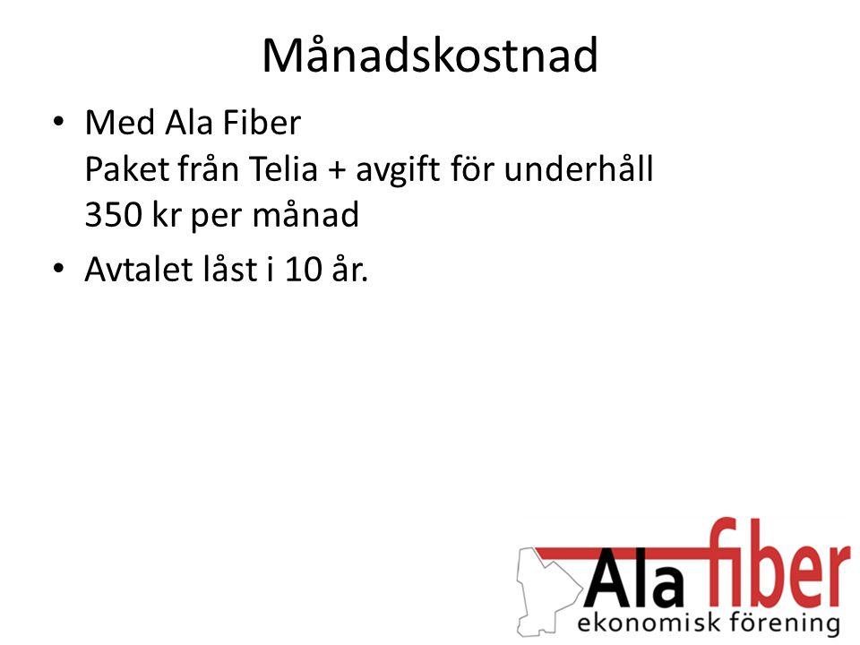 Månadskostnad Med Ala Fiber Paket från Telia + avgift för underhåll 350 kr per månad.