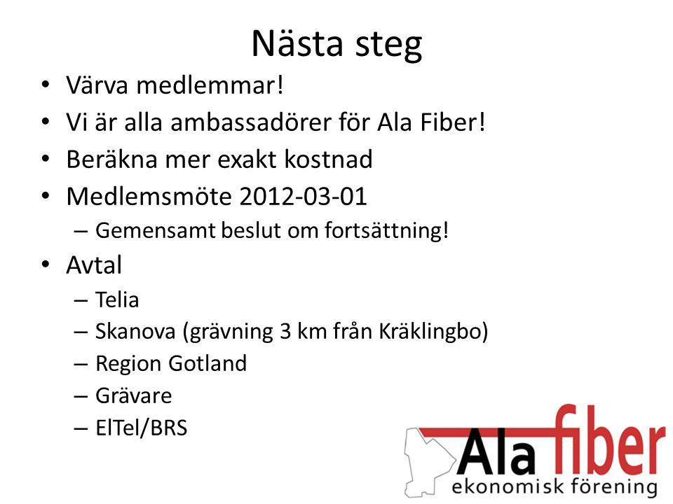 Nästa steg Värva medlemmar! Vi är alla ambassadörer för Ala Fiber!