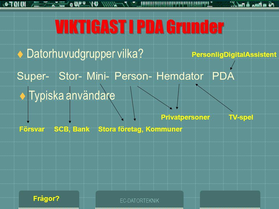 VIKTIGAST I PDA Grunder