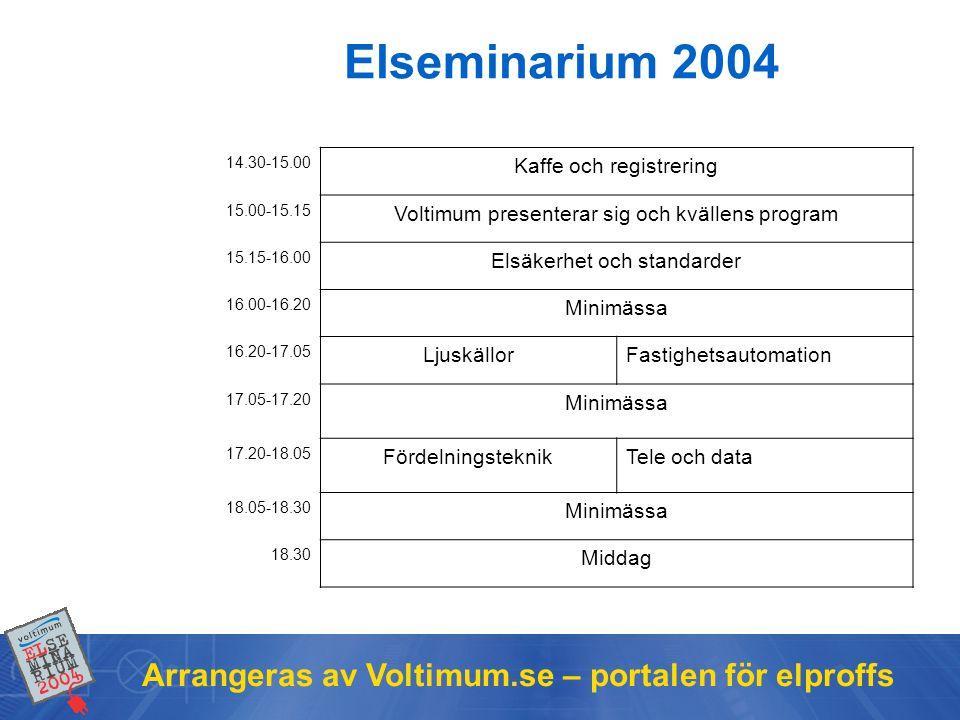 Elseminarium 2004 Arrangeras av Voltimum.se – portalen för elproffs