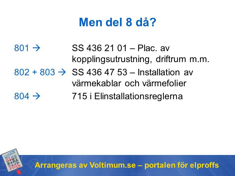 Men del 8 då 801  SS 436 21 01 – Plac. av kopplingsutrustning, driftrum m.m.
