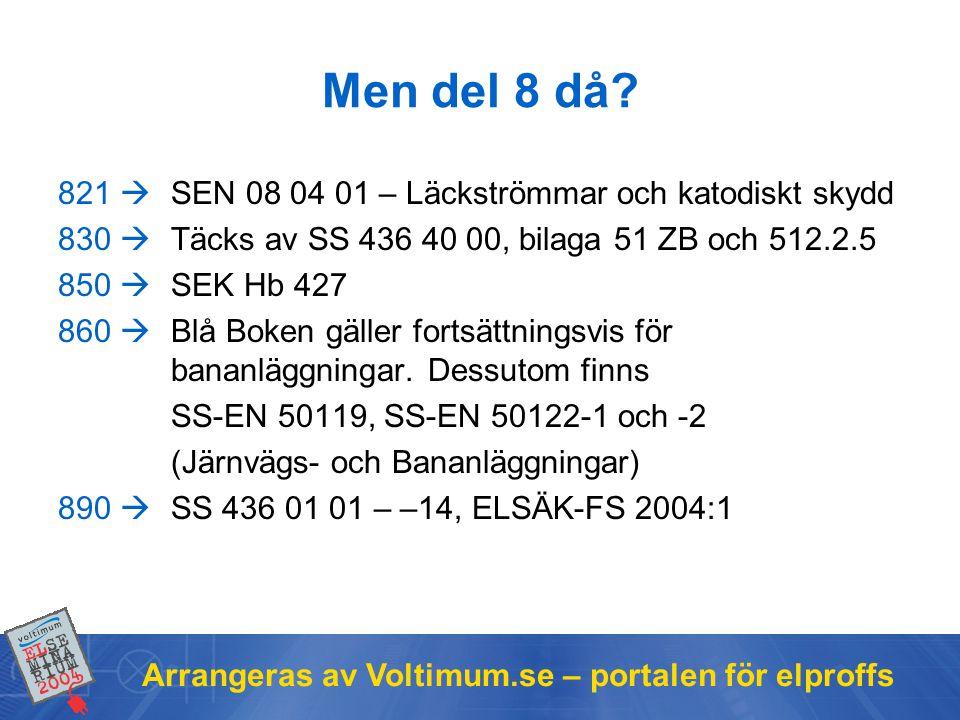 Men del 8 då 821  SEN 08 04 01 – Läckströmmar och katodiskt skydd