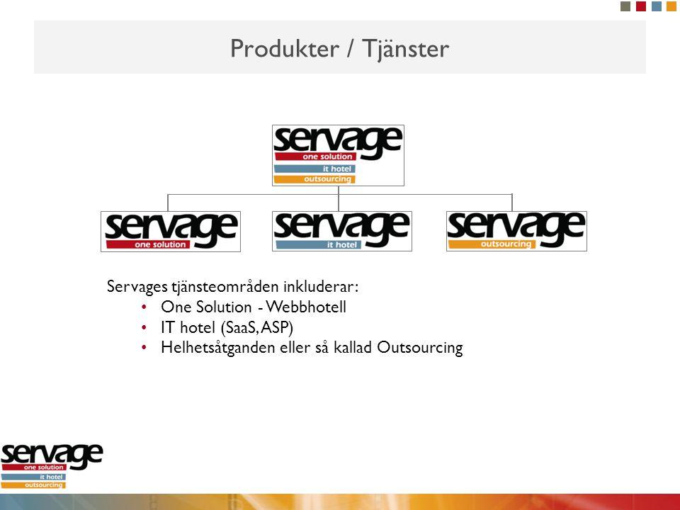 Produkter / Tjänster Servages tjänsteområden inkluderar:
