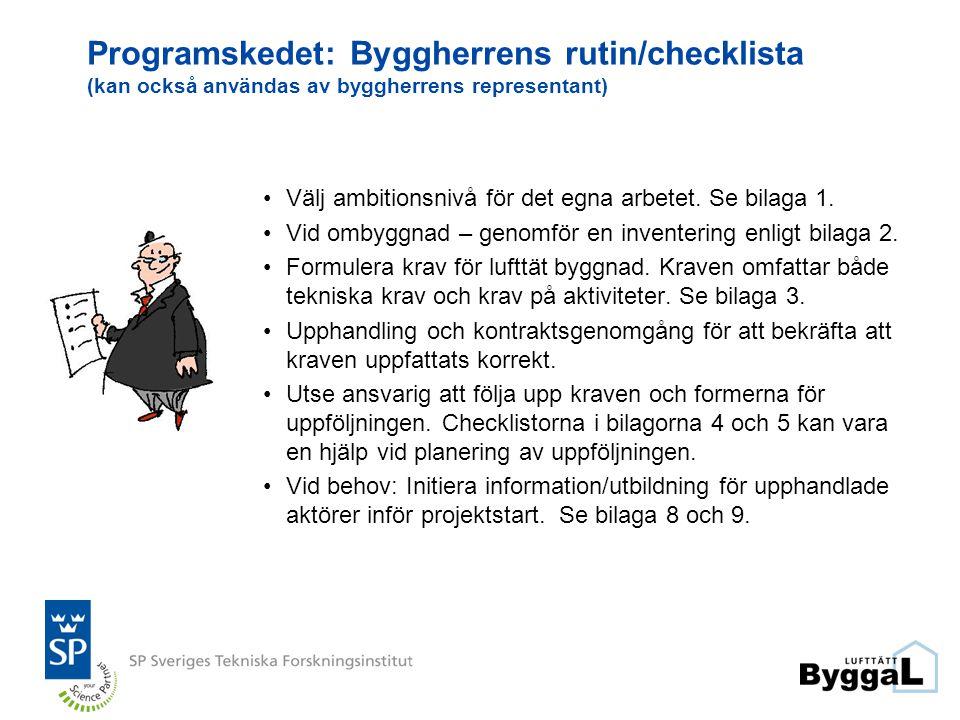 Programskedet: Byggherrens rutin/checklista (kan också användas av byggherrens representant)