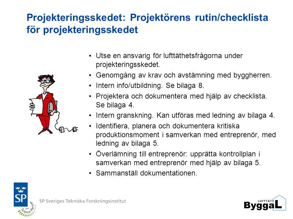 Projekteringsskedet: Projektörens rutin/checklista för projekteringsskedet