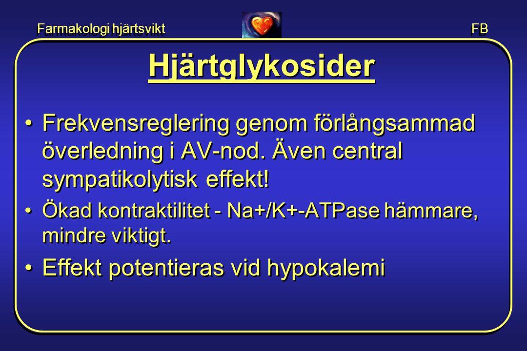 Hjärtglykosider Frekvensreglering genom förlångsammad överledning i AV-nod. Även central sympatikolytisk effekt!