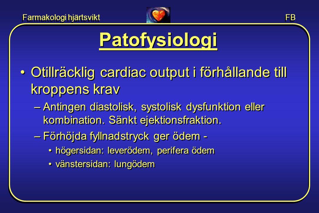 Patofysiologi Otillräcklig cardiac output i förhållande till kroppens krav.